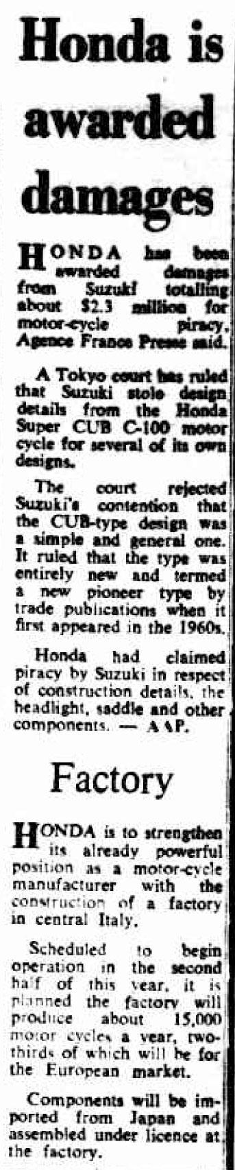honda is awarded damages 06 1973