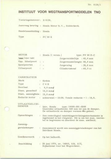 RDW keuringsverslagen Honda PC50K 15 Juni 1970 14663 B0126