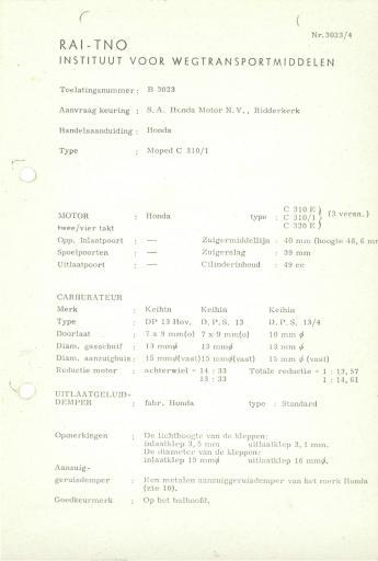 RDW keuringsverslagen Honda C310 I (Geen Datum) (Geen Dossiernr) B3023