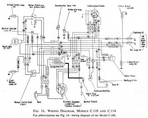 Honda C110 Wiring Schematic - HiRes