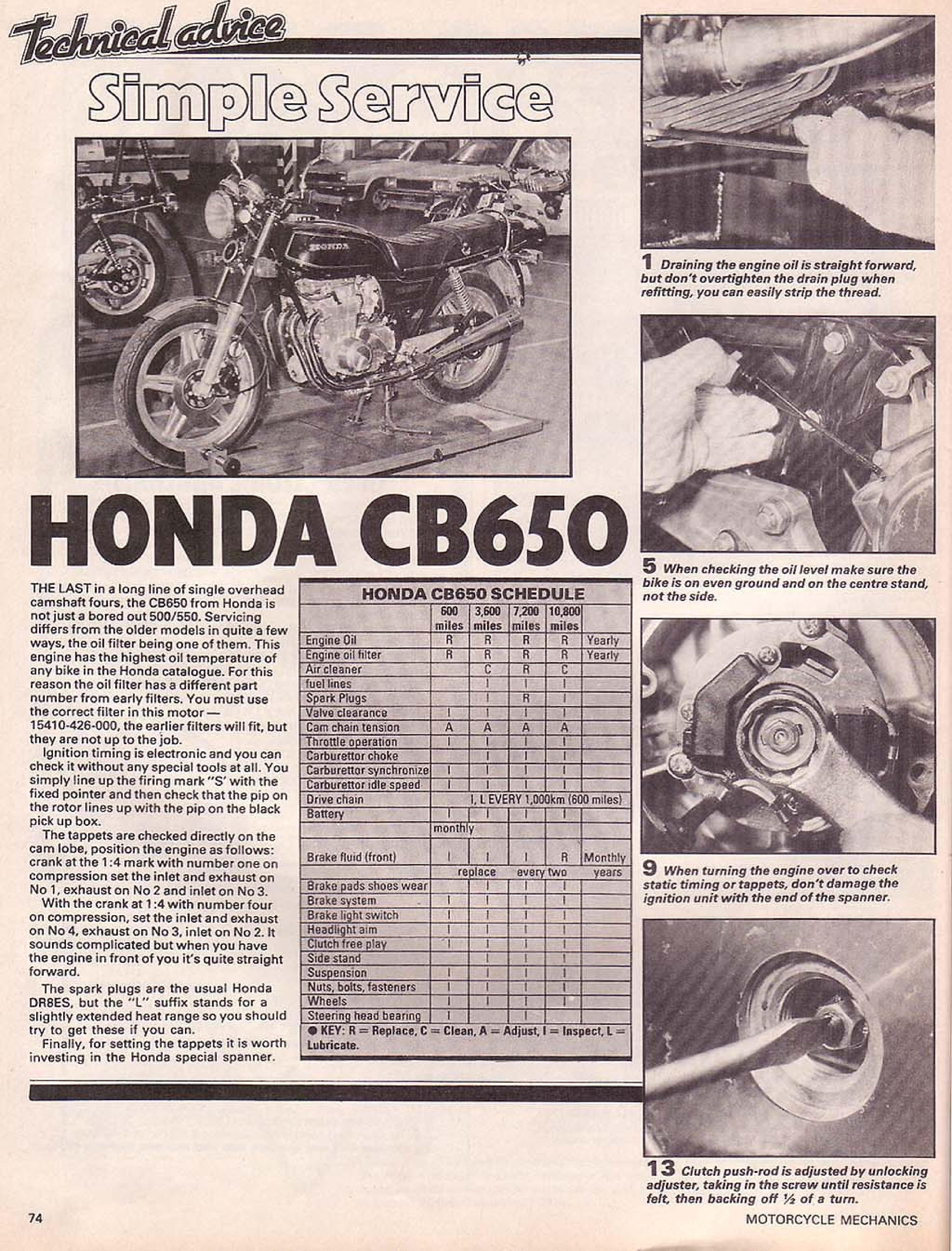 Motorcycle Mechanics about Honda CB650 (May 1981)