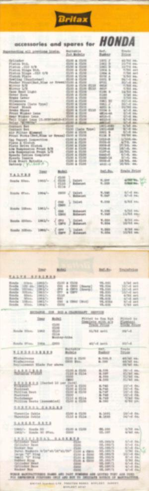 Accessories and Spares price list (1961-1964) (Small)
