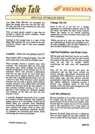 ShopTalk - Honda Storage Instructions (1994)