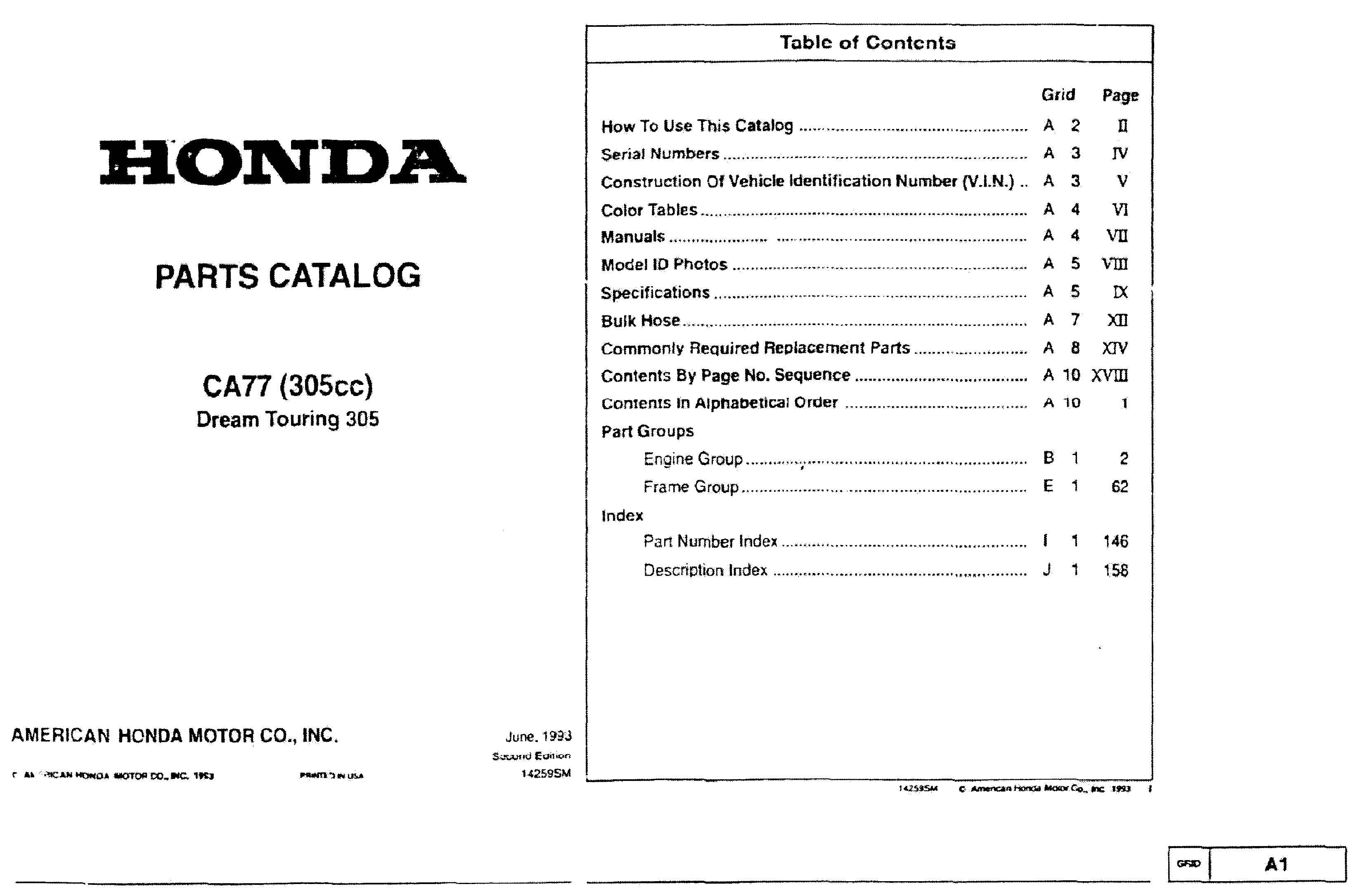 Parts List for Honda CA77