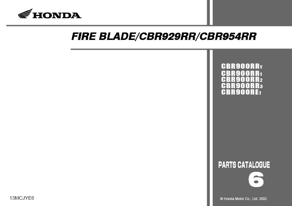 Parts list for Honda CBR954RR (2002)