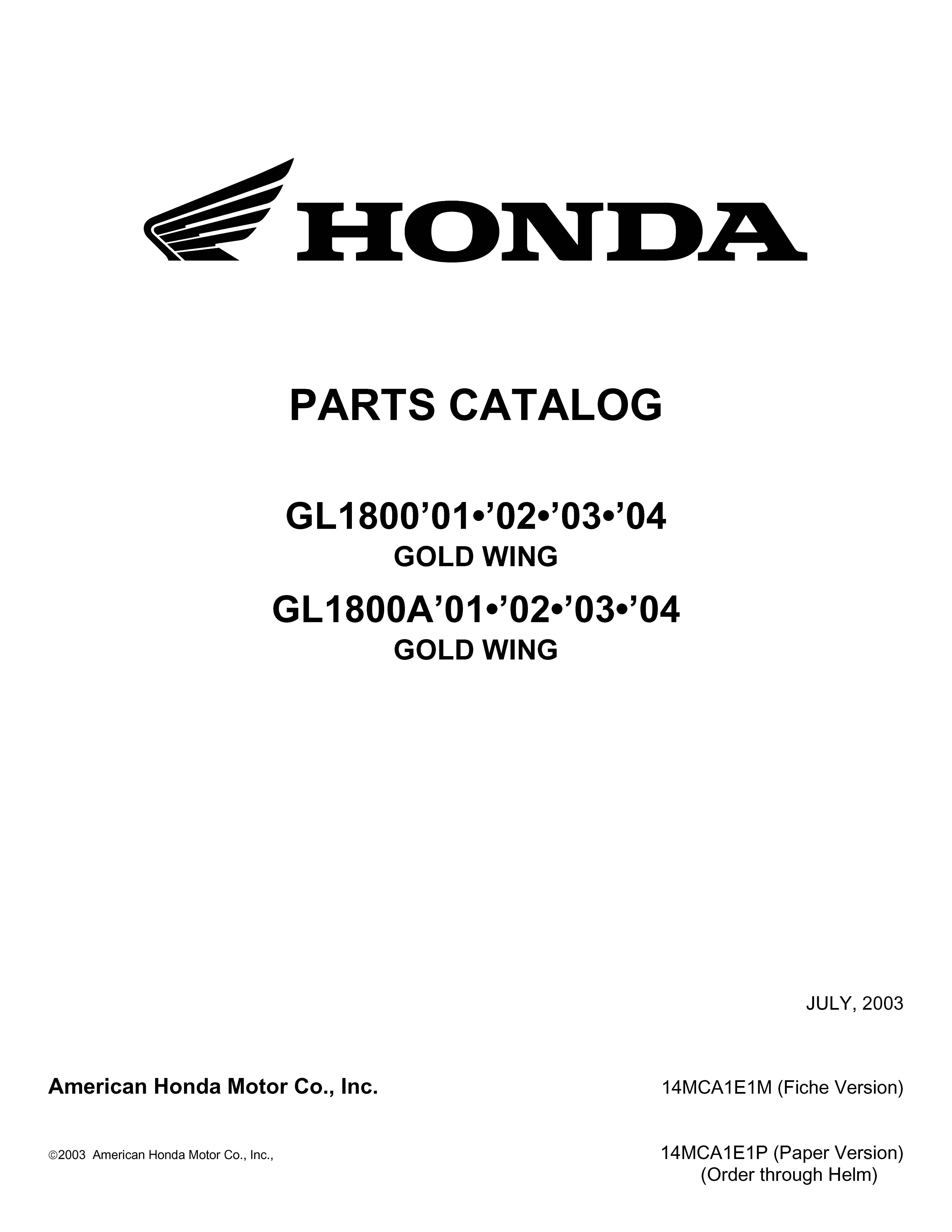 Parts list for Honda GL1800A (2001-2004)