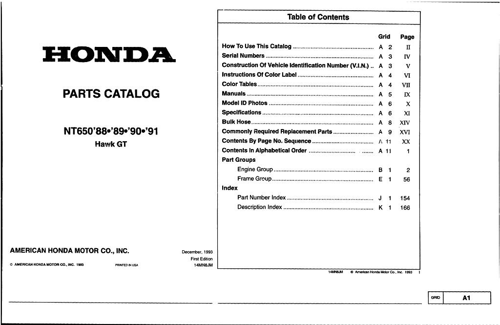 Parts list for Honda NT650 Hawk GT (1988-1991)