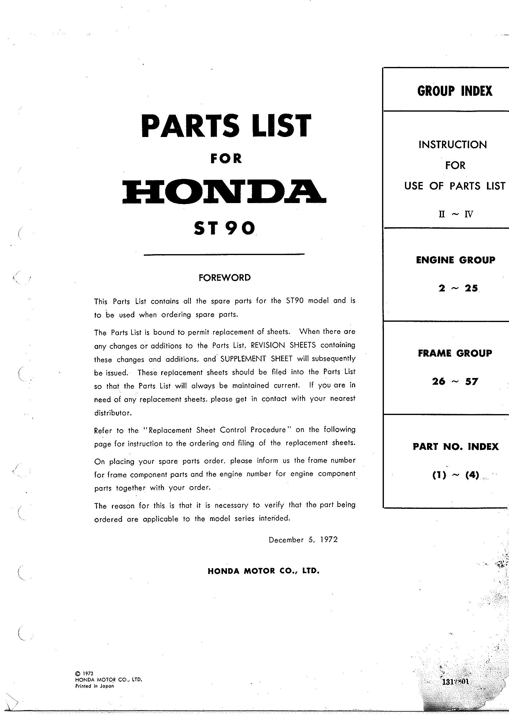 Parts List for Honda ST90 (1973)