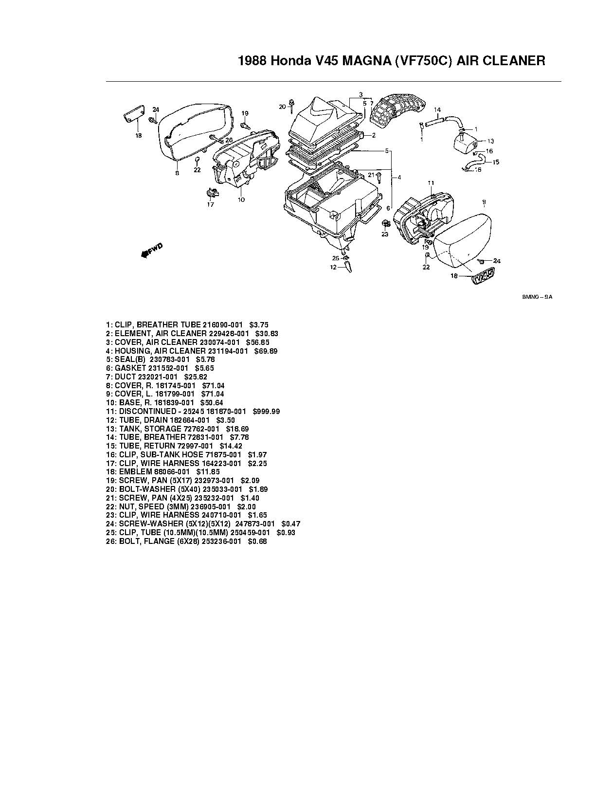 Parts list for Honda VF750C (1988)