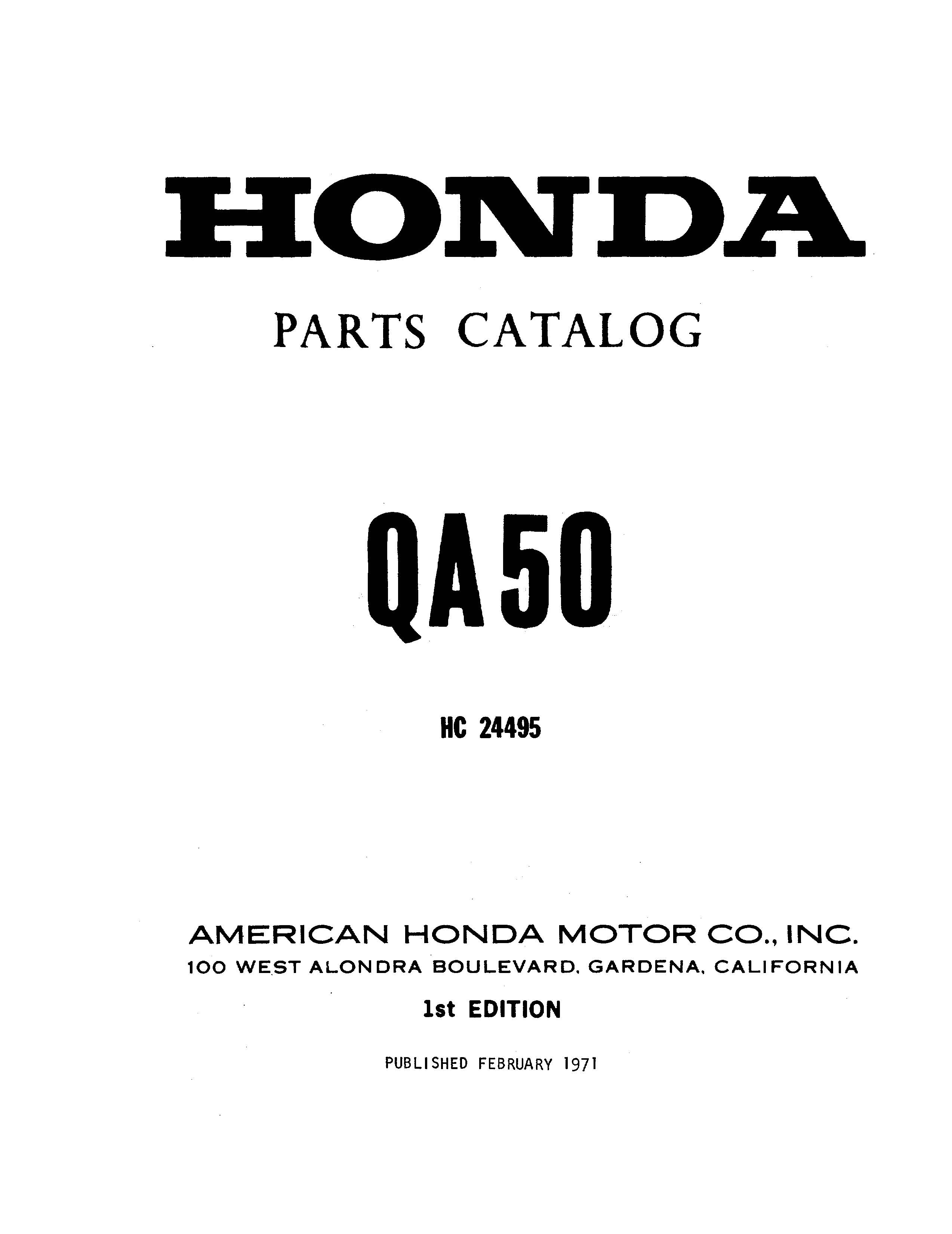 Parts list for Honda QA50 (1971)