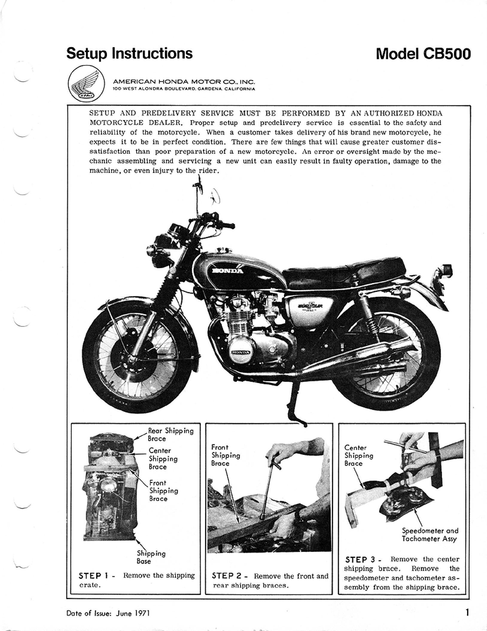 Setup Manual for Honda CB500 (1971)