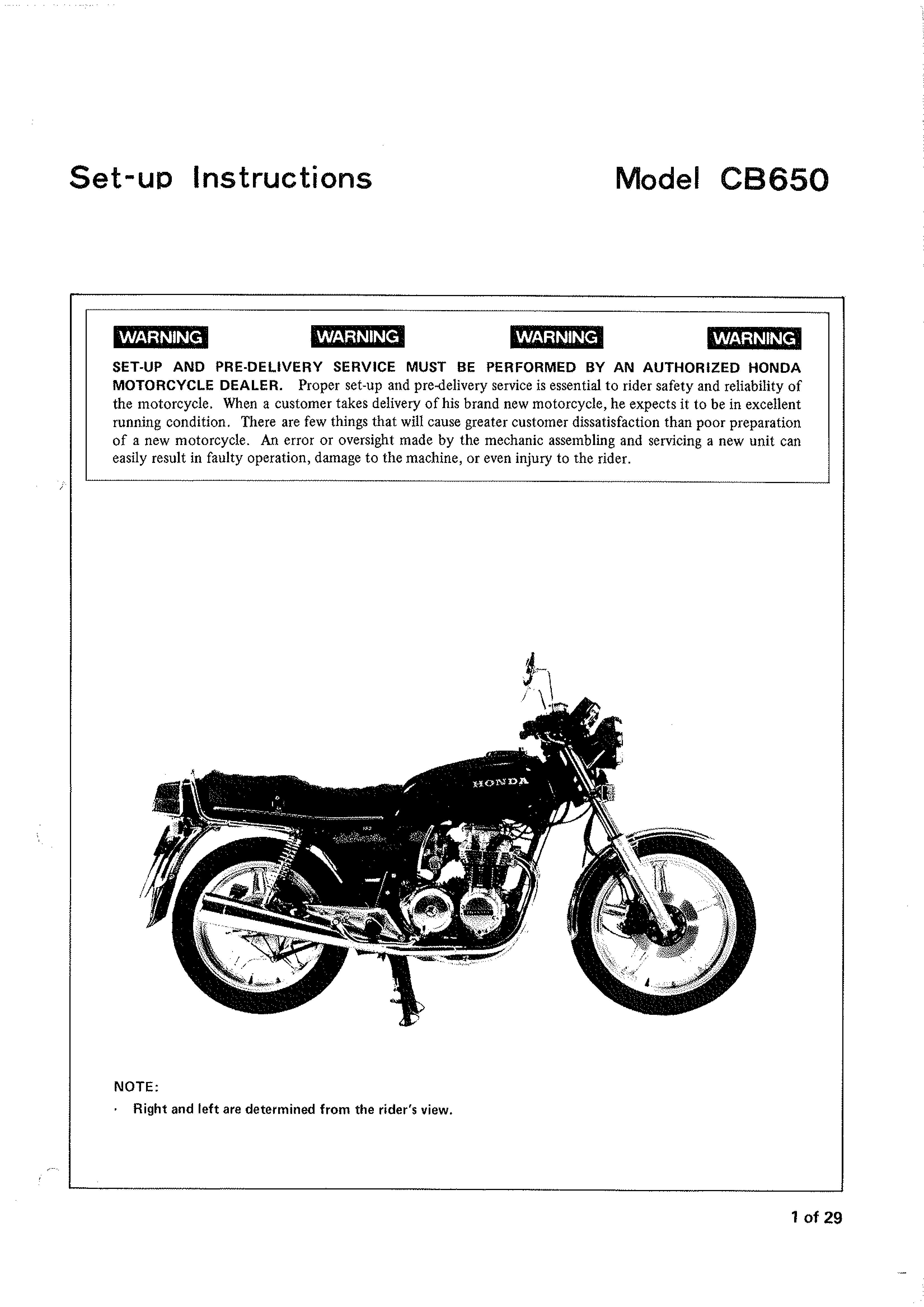Setup Manual for Honda CB650