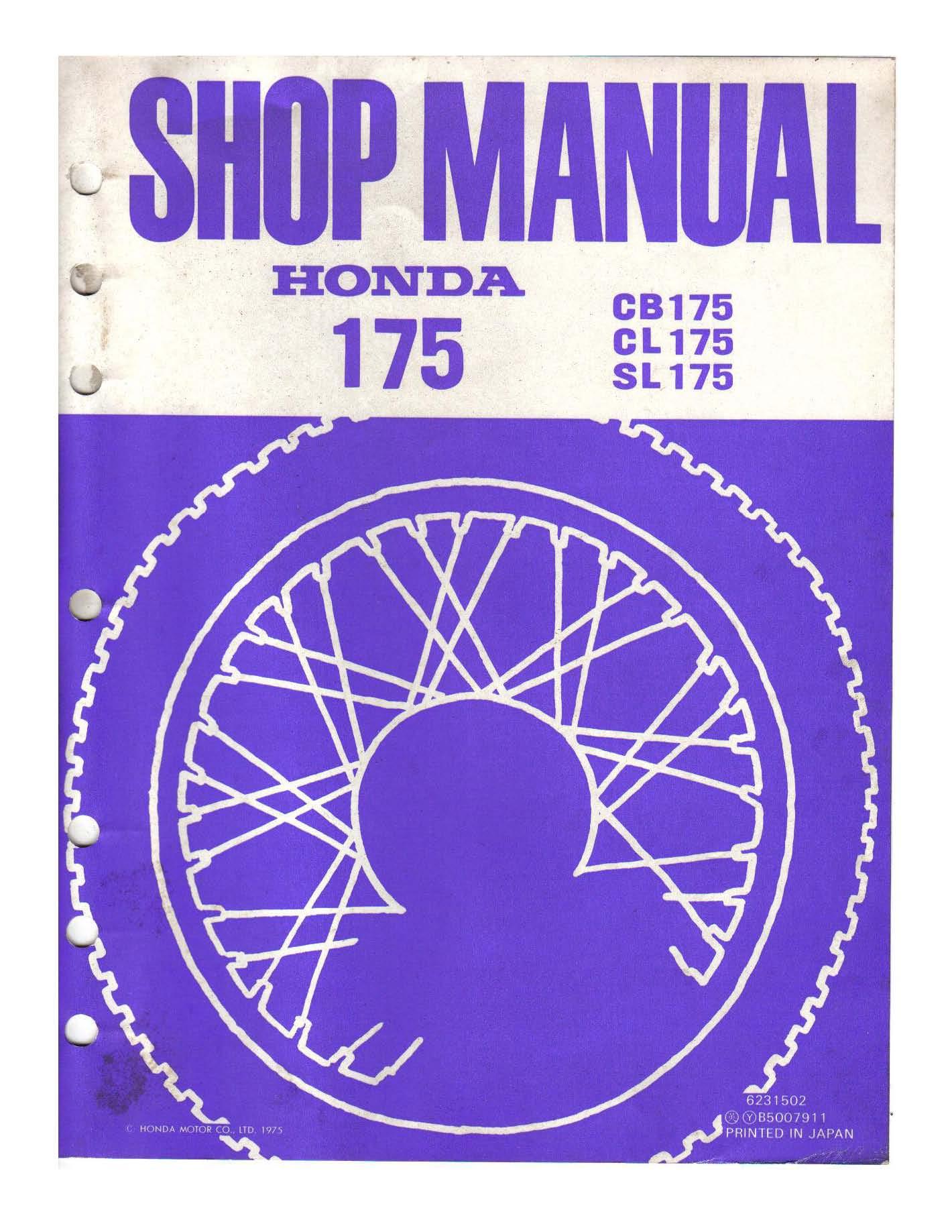 Workshop manual for Honda CB175 (1975)