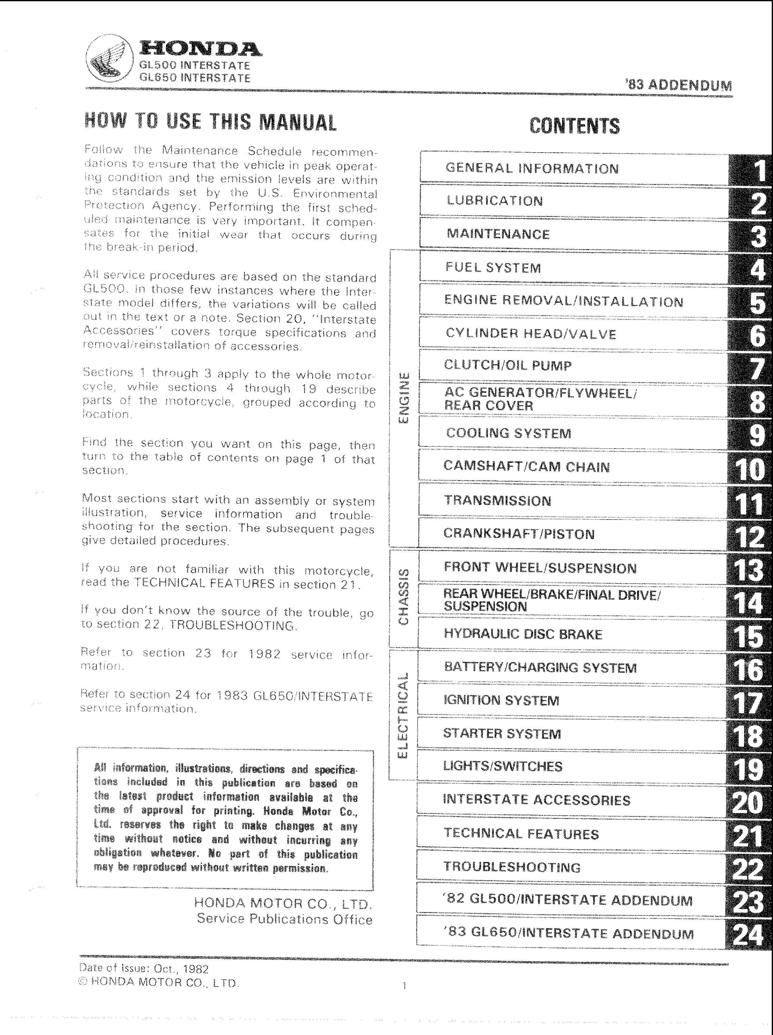Workshop manual for Honda GL600 (1982)