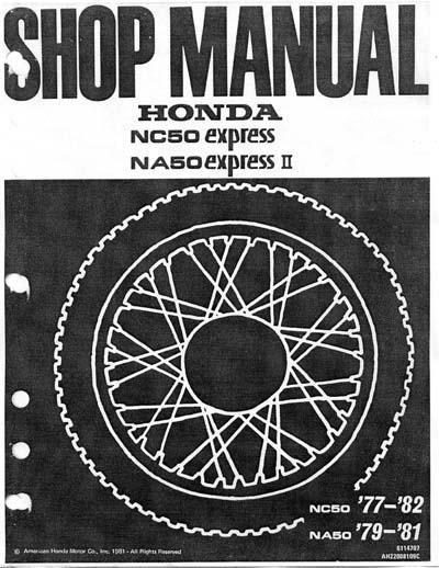 Workshop Manual for Honda NC50 (1977-1982)