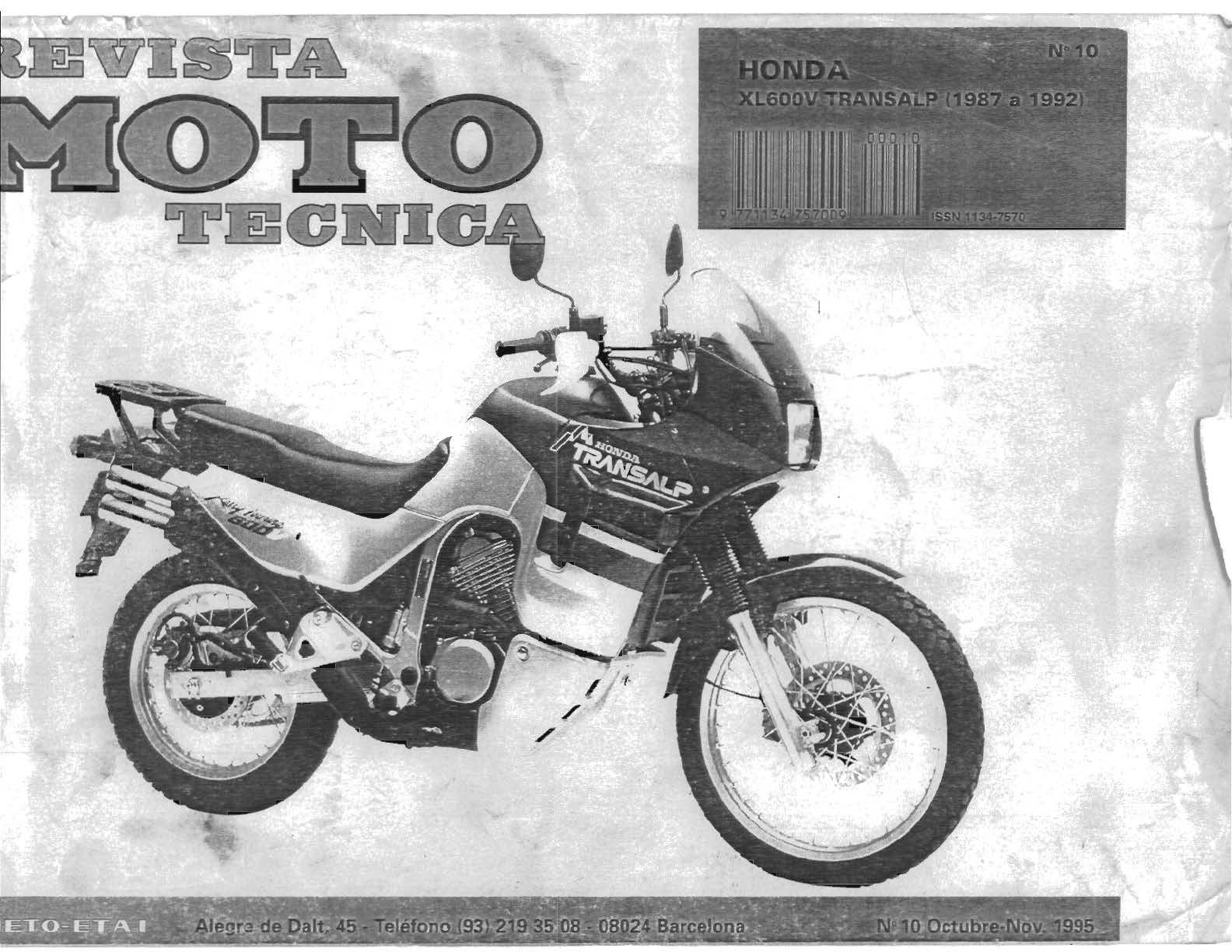 Workshop manual for Honda XL600V (1987-1992) (Spanish)