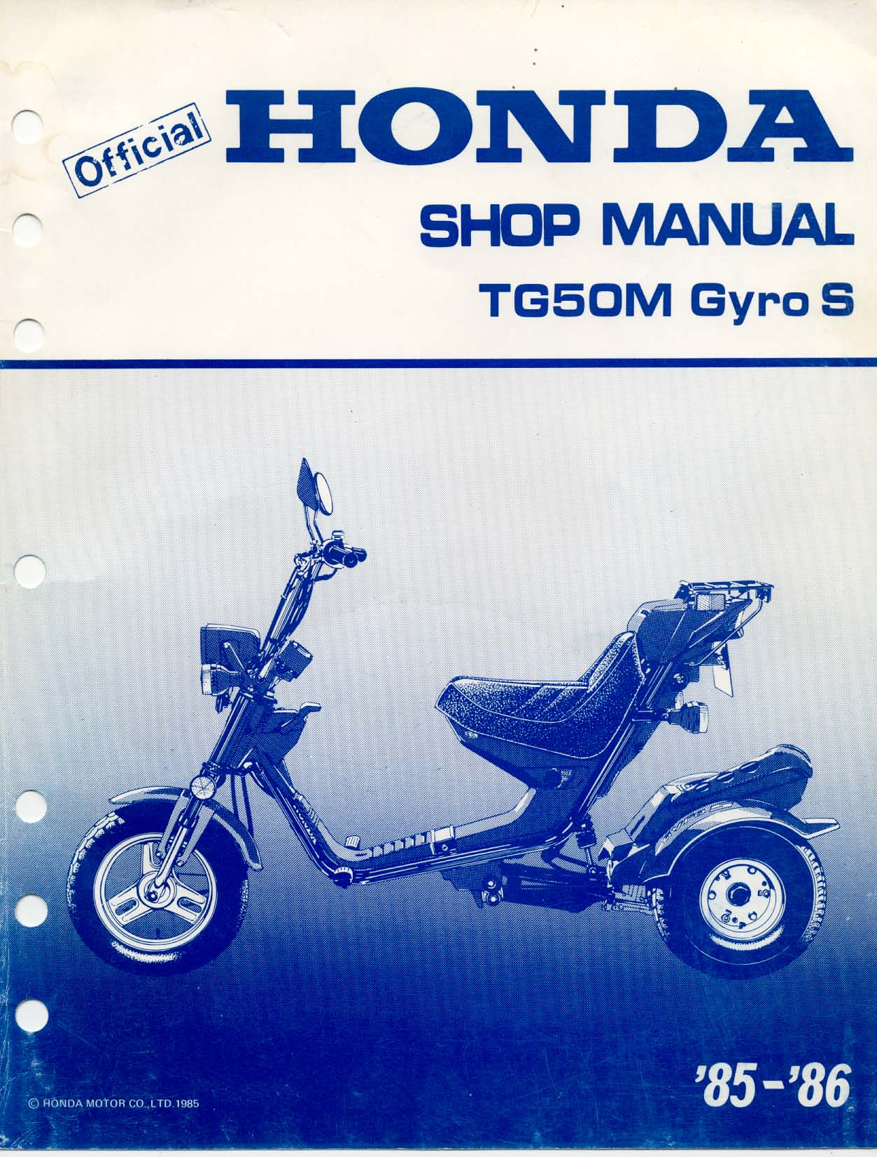 Workshop Manual for Honda TG50M Gyro S (1985-1986)