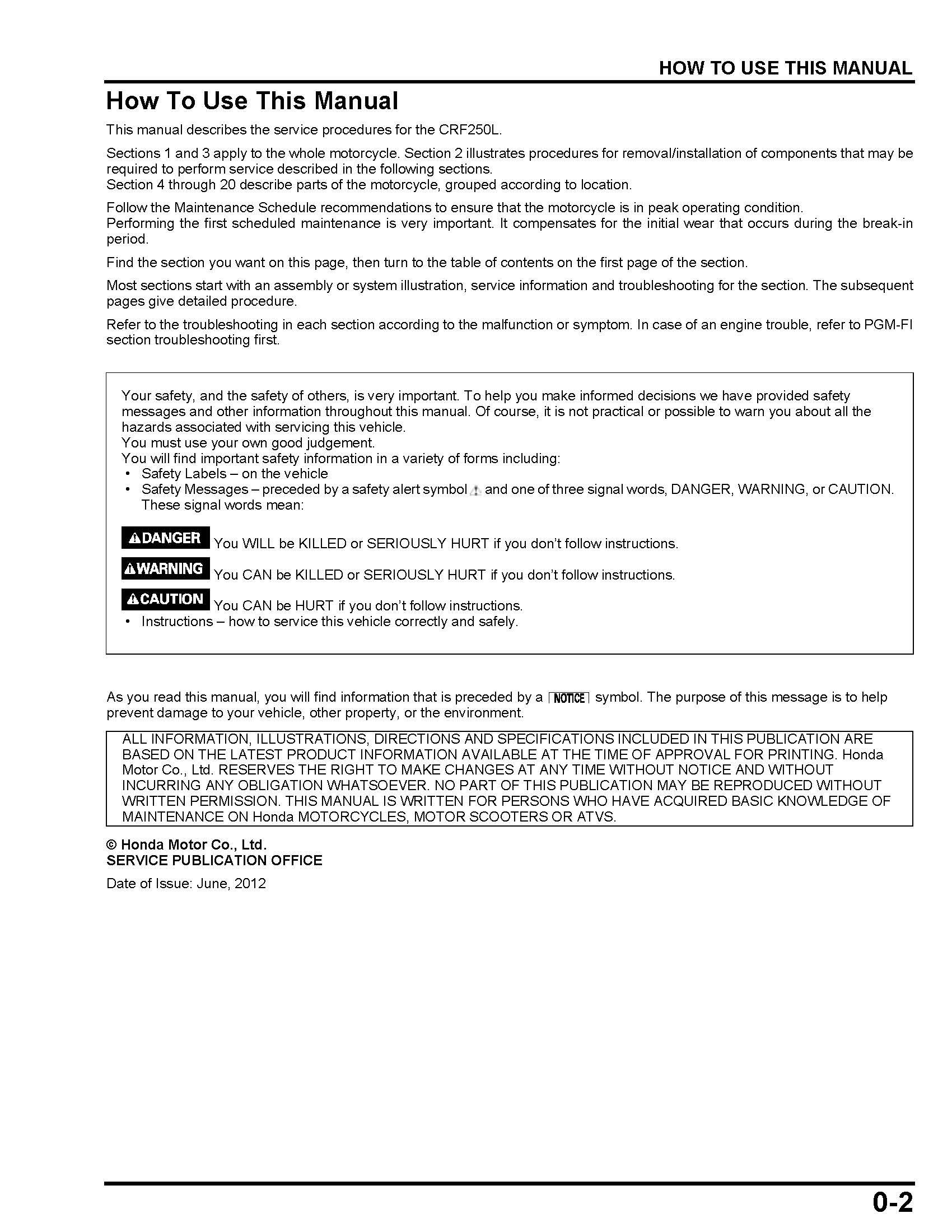 Workshop manual for Honda CRF250L (2012)